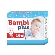 Подгузники детские «Bambi plus» 5-10 кг, размер 3, 16 шт.