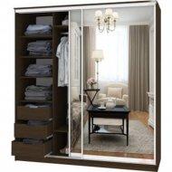 Шкаф-купе «Кортекс-мебель» Сенатор, ШК12 Классика, зеркало, венге