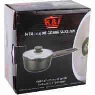 Ковшик для соуса с индукционным дном и стеклянной крышкой, 1.42 л, 16х7 см.
