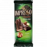Шоколад «Impresso» горький, с начинкой пралине, 200 г.