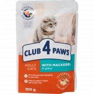 Корм для кошек «Club 4 paws» с макрелью в соусе, 100 г.