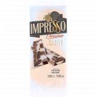 Шоколад «Impresso» тёмный и белый, 200 г.