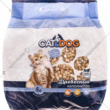 Наполнитель древесный «Сat&Dog» для кошачьего туалета, 6 л.