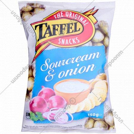 Картофельные чипсы «Taffel» со вкусом сметаны и лука, 150 г.