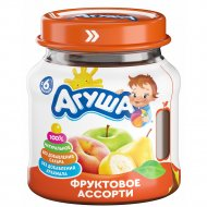 Пюре «Агуша» яблоко, груша, банан и персик, 115 г.