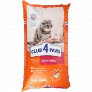 Сухой корм для взрослых кошек «Club 4 Paws» с телятиной, 14 кг.