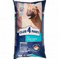 Сухой корм для взрослых собак «Club 4 paws» ягненок и рис, 14 кг.
