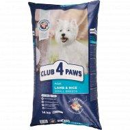 Сухой корм для взрослых собак «Club 4 paws» ягенок и рис, 14 кг.