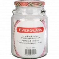Банка стеклянная «EverGlass» с красной крышкой, 900 мл.