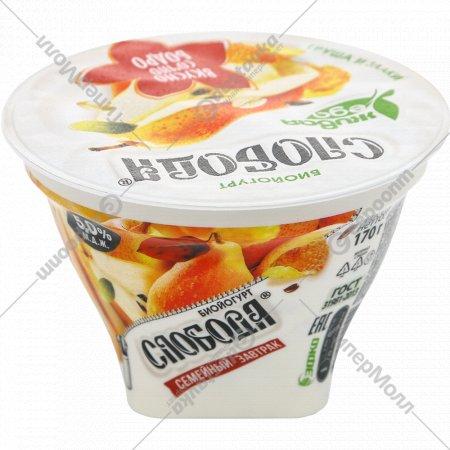 Биойогурт «Слобода» с грушей, злаками и семенами льна, 5%, 170 г.