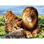 Живопись по номерам «Azart» львиная семья, на картоне, 30х40 см.