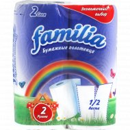 Полотенца бумажные «Familia» белые, 2 рулона.