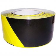 Лента оградительная «Zoom», 75 мм х 250 м, черно-желтая.