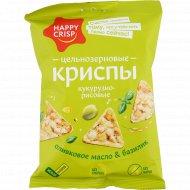 Чипсы кукурузно-рисовые «Happy Crisp» оливковое масло-базилик, 50 г.