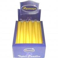 Свеча коническая желтая, 24x2 см.