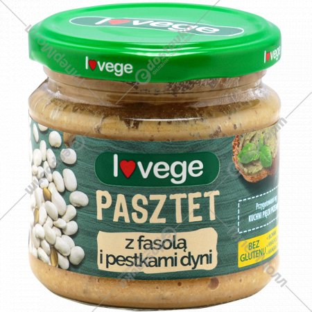 Паштет «Lovege» с фасолью и тыквенными семечками, 180 г.