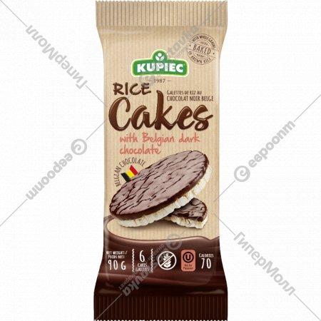 Рисовые вафли «Kupiec» c бельгийским темным шоколадом, 90 г.