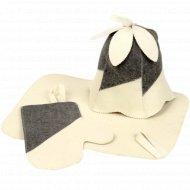 Набор для сауны «Женский» колпак, рукавица, коврик