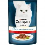 Корм для кошек «Gourmet» в подливе с говядиной, 85 г.
