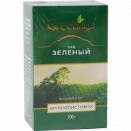 Чай зеленый «Greetings» крупнолистовой, 100 г.