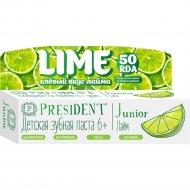Зубная паста «PresiDENT» для детей, вкус лайм 50 мл.