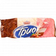 Мороженое «Юкки Трио» ваниль, шоколад, клубника, 65 г.