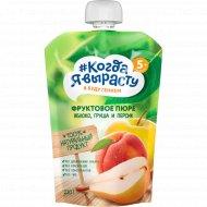 Пюре «Когда я вырасту» яблоко, груша персик, 220 г.
