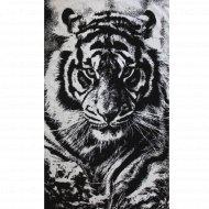 Полотенце махровое «Тигр» черно-белое, 75х150 см.