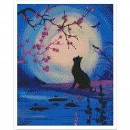 Алмазная мозаика «Menglei» Котик и луна, VD296