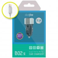 АЗУ «Dotfes» BO2s + кабель Lightning silver 2USB, 3.1A.