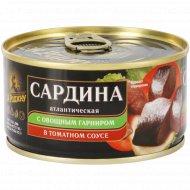 Сардина «За Родину» в томатном соусе, с овощным гарниром, 185 г.