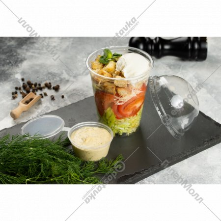 Салат «Цезарь» с курицей и яйцом пашот, 1/200/30 г.