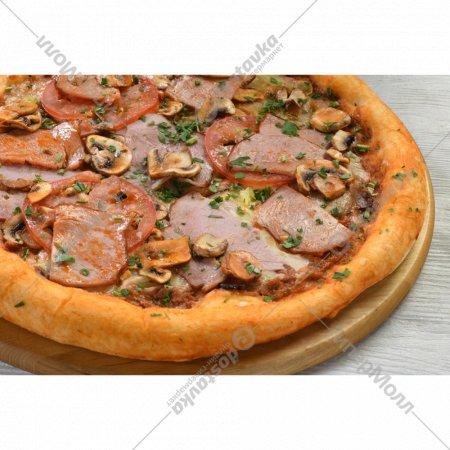 Пицца «С ветчиной и грибами» на толстом тесте, 600 г.