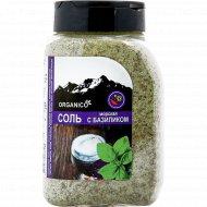 Соль морская запеченная с базиликом «Organico» в солонке, 600 г.