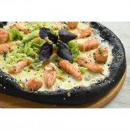 Пицца черная «С семгой» на толстом тесте, 600 г.