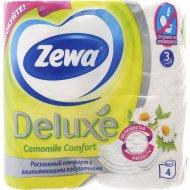 Бумага туалетная «Zewa Deluxe» ромашка, трехслойная, 4 рулона