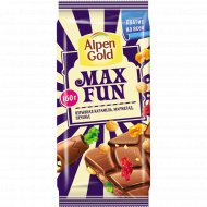 Шоколад «Alpen Gold» Max Fun, карамель, мармелад, печенье, 160 г.