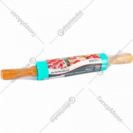 Скалка силиконовая с деревянными ручками GU12158.