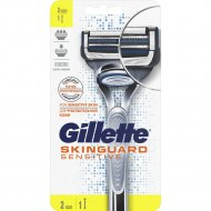 Бритва «Gillette Skinguard» Sensitive с 2 сменными кассетами.