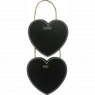 Декоративная грифельная доска «2 сердца» на веревке, 12х11.5 см.