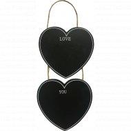 Декоративная грифельная доска «2 сердца» на веревке, 14.5х14 см.