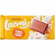 Шоколад молочный «Lachmi» с арахисом и соленой карамелью, 90 г.