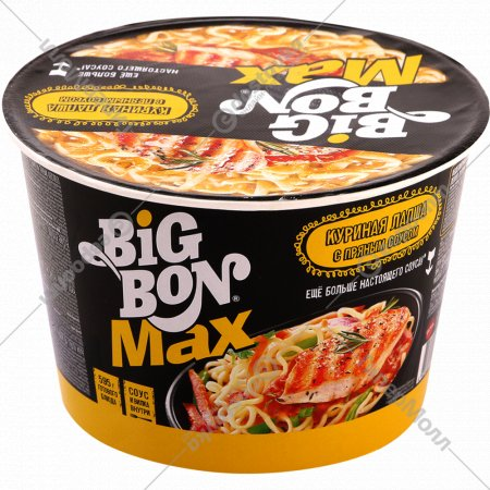 Лапша «Big Bon» MAX соус с курицей 95 г.
