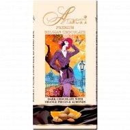 Горький шоколад «Ameri» с кусочками апельсина и миндаля, 100 г.