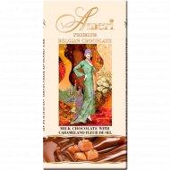 Молочный шоколад «Ameri» какао с кусочками карамели и солью, 100г.
