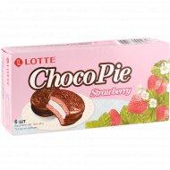 Печенье «Lotte ChocoPie» со вкусом клубники, 168 г.