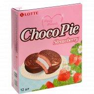 Печенье «Lotte ChocoPie» со вкусом клубники, 336 г.