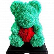 Сувенир «Rose Bear» бирюзовый + красный, 40 см.