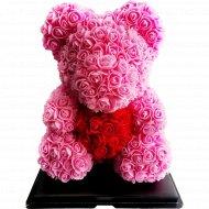 Сувенир «Rose Bear» розовый + красный, 40 см.