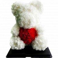 Сувенир «Rose Bear» белый + красный, 40 см.